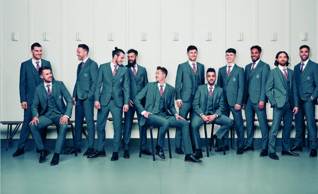 Gareth Bale and the Wales football squad model new Marks and Spencer Suits